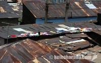屋根の上の洗濯物