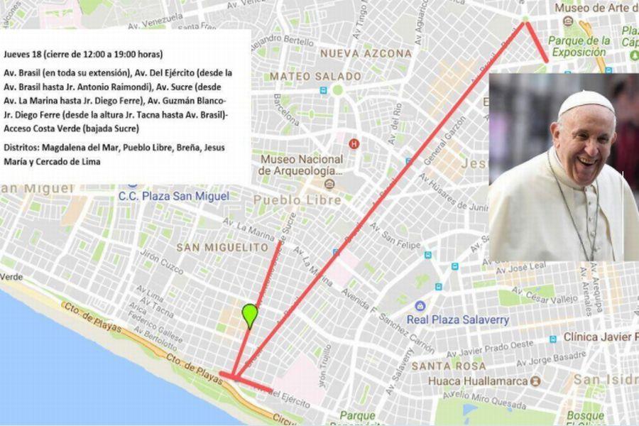 ローマ教皇来秘・交通規制