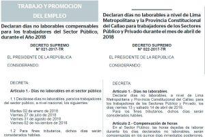 ペルー政府、2018年の暦に計6日の不労日追加