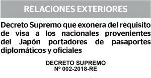 ペルー政府、外交・公用旅券所持日本人の査証を免除