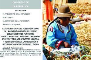 ウロス島一族をペルー先住民に認定