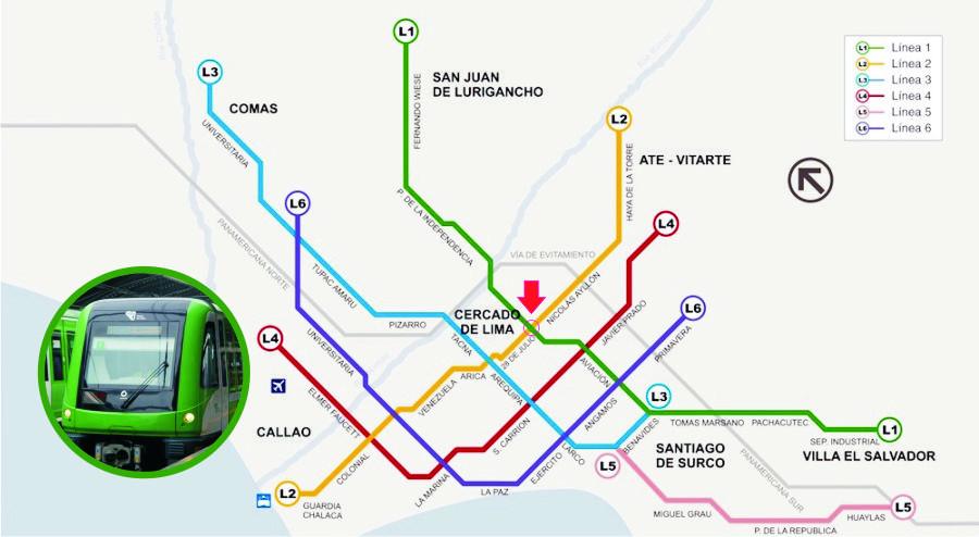 リマメトロ電鉄計画図