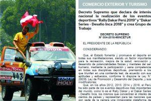 ペルー政府 ダカールラリー2019開催に国家的関心表明