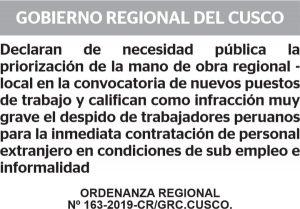 クスコ地方政府 外国人雇用を条例で規制し物議