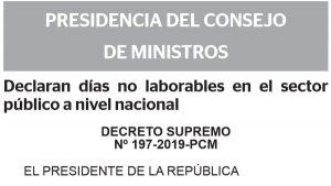ペルー首相府 2020年の公共機関不労日を発表