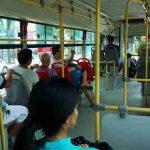 バス乗客にフェイスシールド着用を要請